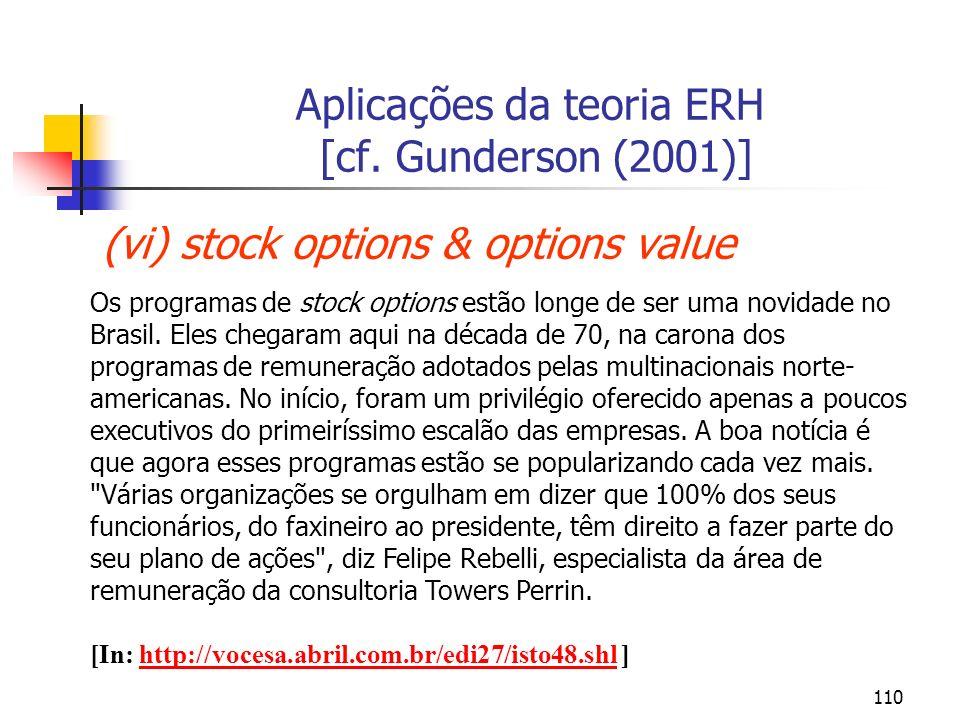 Aplicações da teoria ERH [cf. Gunderson (2001)]